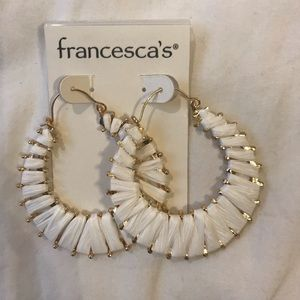 White Rattan-woven hoop earrings BRAND NEW
